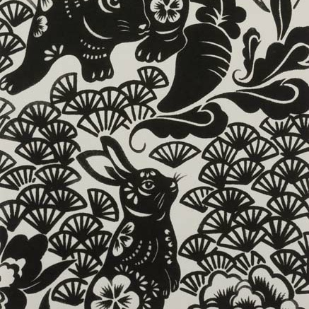 PD's Alexander Henry Collection Indochine, Usagi (Rabbit) in Black, Dinner Napkin