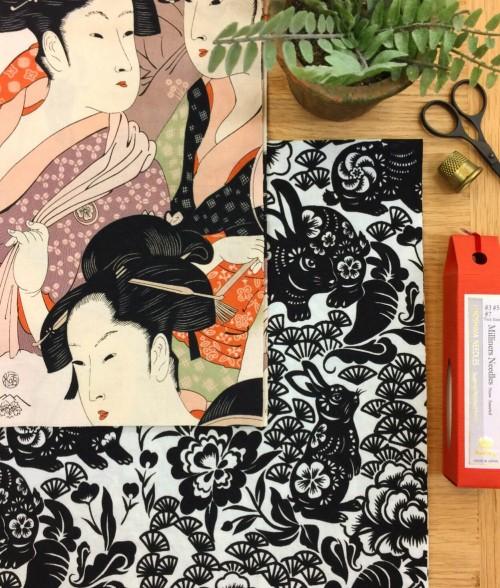 PD's Alexander Henry Collection Indochine, Usagi (Rabbit) in Black, Dinner Napkin