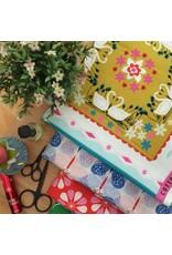 Cotton + Steel Beauty Shop, Fancy Cats in Green C6002-03, Fabric Half-Yards