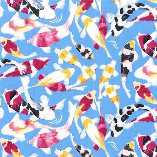 Laura Gunn Koi Garden, Koi Dance in Wave, Fabric Half-Yards DC7439
