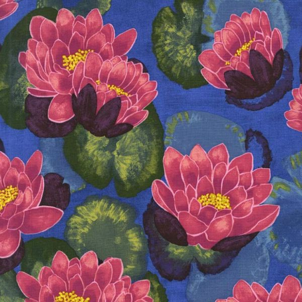Laura Gunn Koi Garden, Blooming Lotus in Magenta, Fabric Half-Yards DC7432