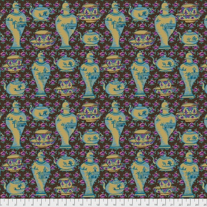 Kaffe Fassett ON SALE-Kaffe Collective, Delft Pots in Brown, Fabric Half-Yards  PWGP165