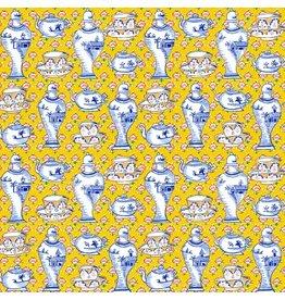 Kaffe Fassett Kaffe Collective, Delft Pots in Yellow, Fabric Half-Yards  PWGP165