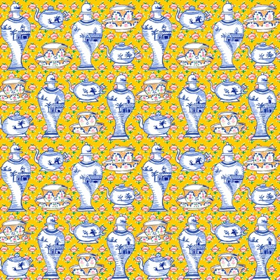 Kaffe Fassett Kaffe Collective, Delft Pots in Yellow, Fabric Half-Yards  PWGP165