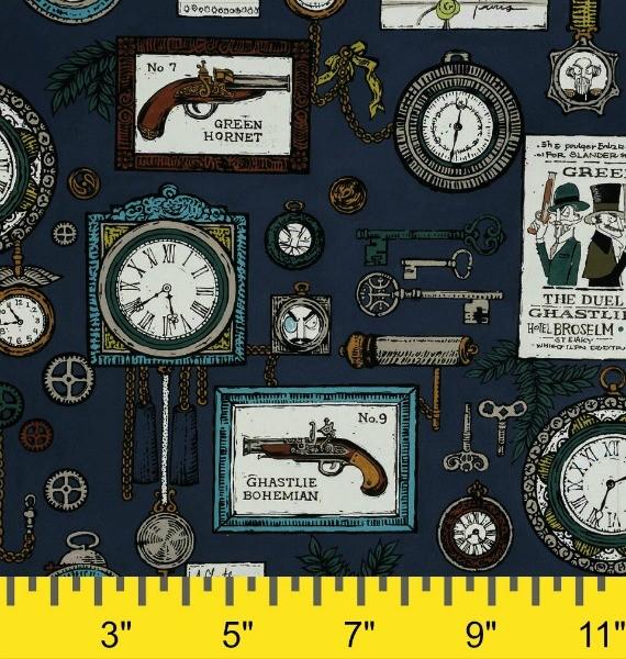 Alexander Henry Fabrics ON SALE-The Ghastlies, A Ghastlie Duel in Potion Blue, Fabric Half-Yards 8592B