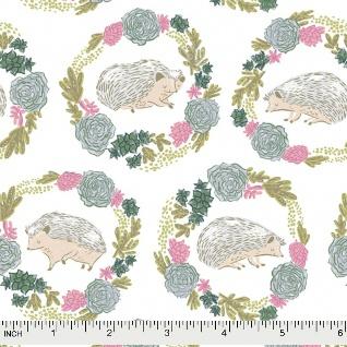 Rae Ritchie Garden Sanctuary, Hedgehogs in White, Fabric Half-Yards STELLA-SRR859
