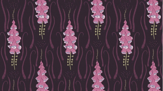 PD's Rae Ritchie Collection Magik Sanctuary, Foxglove in Blackberry, Dinner Napkin