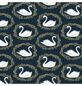Dear Stella ON SALE-Woodland Nymph, Sleeping Beauty Black Swan in Midnight, Fabric Half-Yards STELLA-913