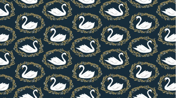 Dear Stella ON SALE-Woodland Nymph, Sleeping Beauty Black Swan in Midnight, Fabric Half-Yards STELLA-913