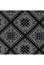 Robert Kaufman ON SALE-Sevenberry, Bandana in Black, Fabric Half-Yards SB-82103D2-5