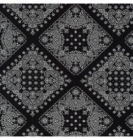 Robert Kaufman Sevenberry, Bandana in Black, Fabric Half-Yards SB-82103D2-5