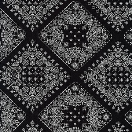 Robert Kaufman Sevenberry, Bandana in Black, Fabric Half-Yards SB-82103D2-5