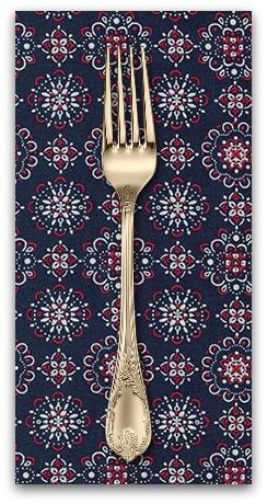 PD's Robert Kaufman Collection Sevenberry, Bandana Medallion in Navy, Dinner Napkin