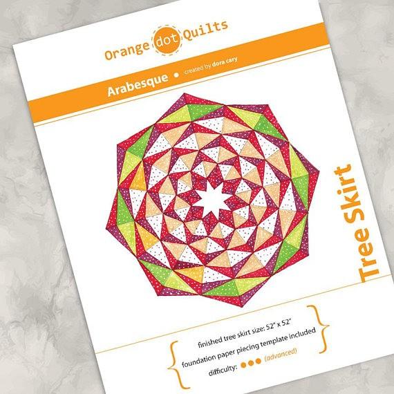 Orange Dot Quilts Orange Dot Quilt's Arabesque Tree Skirt Pattern