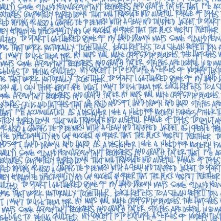 Carolyn Friedlander Architextures, Scribble Notes in Blueprint, Fabric Half-Yards AFR-13501-387