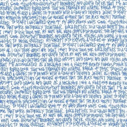 Carolyn Friedlander ON SALE-Architextures, Scribble Notes in Blueprint, Fabric Half-Yards AFR-13501-387