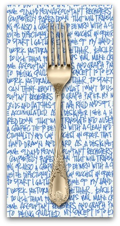 PD's Carolyn Friedlander Collection Architextures, Scribble Notes in Blueprint, Dinner Napkin