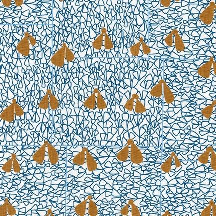 Carolyn Friedlander Gleaned, Wings in Blue, Fabric Half-Yards AFR-17290-4