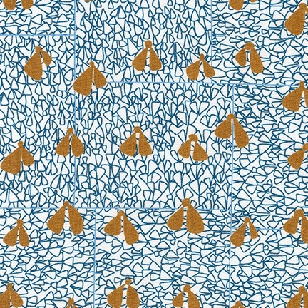 Carolyn Friedlander ON SALE-Gleaned, Wings in Blue, Fabric Half-Yards AFR-17290-4