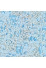 Carolyn Friedlander Gleaned, Snake in Spa Blue, Fabric Half-Yards AFR-17292-389