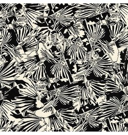 Carolyn Friedlander Gleaned, Lizard Border in Black, Fabric Half-Yards AFR-17289-2
