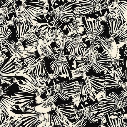 Carolyn Friedlander Gleaned, Lizard Border in Black, Fabric Half-Yards AFR-17289-2