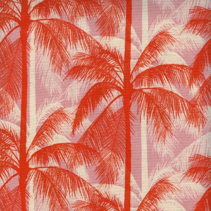 Cotton + Steel Poolside, Palms in Pink Unbleached Cotton, Fabric Half-Yards 6014-001
