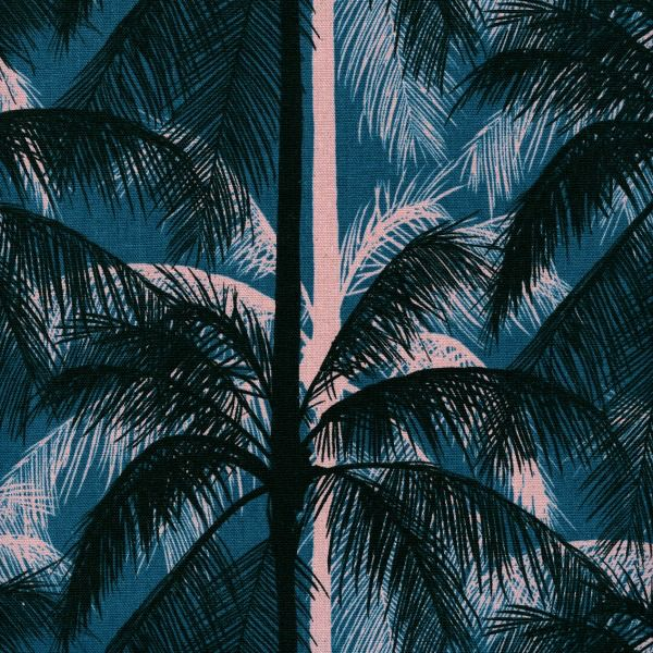 Cotton + Steel Linen/Cotton Canvas, Poolside,  Palms in Blue, Fabric Half-Yards 6017-012