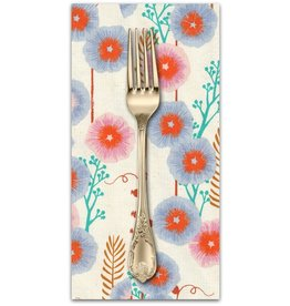 PD's Sarah Watts Collection Santa Fe, Hollyhocks in Natural Unbleached Cotton, Dinner Napkin
