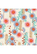 Sarah Watts ON SALE-Santa Fe, Hollyhocks in Natural Unbleached Cotton, Fabric Half-Yards S2062-002