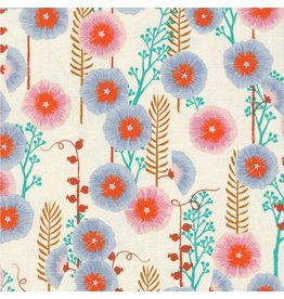 Sarah Watts ON SALE-Santa Fe, Hollyhocks in Natural Unbleached Cotton, Fabric Half-Yards S2062-002