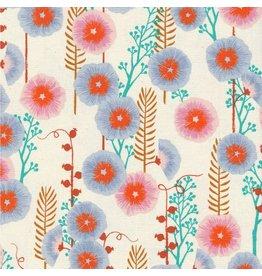 Sarah Watts Santa Fe, Hollyhocks in Natural Unbleached Cotton, Fabric Half-Yards S2062-002