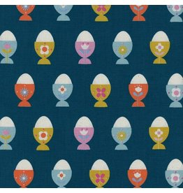 Kim Kight ON SALE-Welsummer, Egg Cups in Navy, Fabric Half-Yards K3056-001