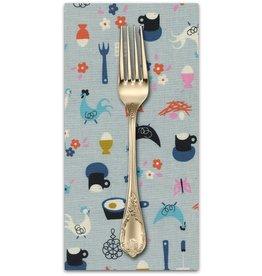 PD's Kim Kight Collection Welsummer, Kitchen Kitsch in Light Blue, Dinner Napkin