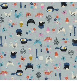 Kim Kight Welsummer, Kitchen Kitsch in Light Blue, Fabric Half-Yards K3058-001
