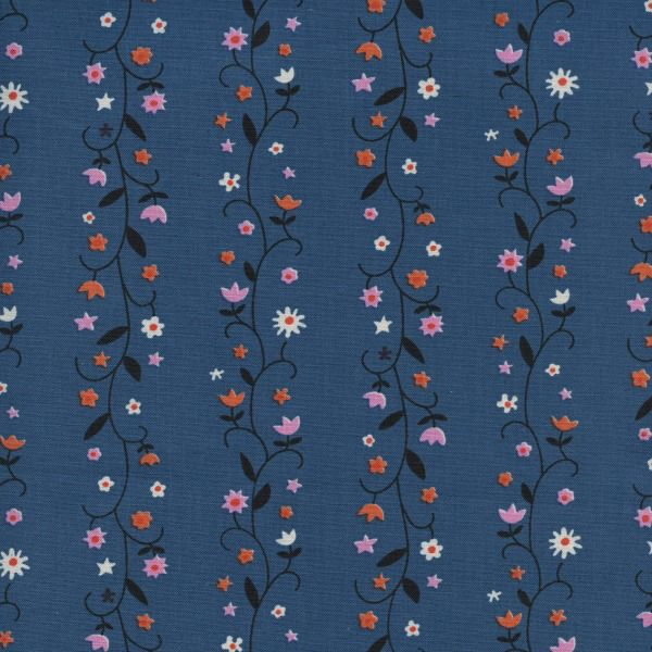 Kim Kight ON SALE-Welsummer, Daisy Vines in Denim, Fabric Half-Yards K3061-001