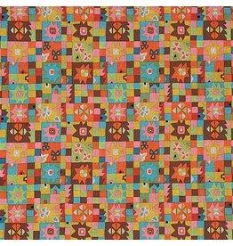 Alexander Henry Fabrics Folklorico, Cuadros de Azul in Brite Multi, Fabric Half-Yards 8616AR