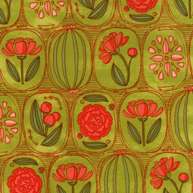 Moda Blushing Peonies, Floral Cameos in Sprig, Fabric Half-Yards 48611 15