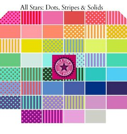 Tula Pink Tula Pink All Stars, Dots, Stripes and Solids - Fat Quarter Bundle 46 pcs.