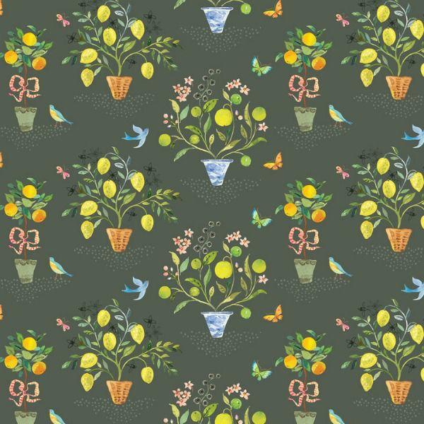 PD's Blend Fabrics Collection Limonella, Orangerie in Grey, Dinner Napkin