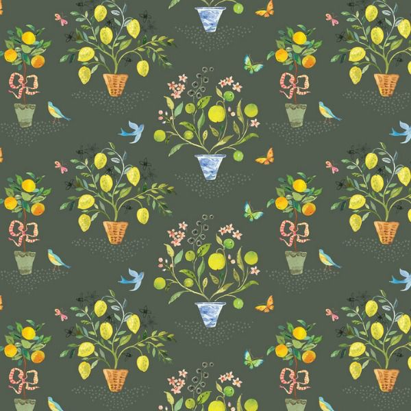 Blend Fabrics Limonella, Orangerie in Grey, Fabric Half-Yards 123.105.02.1