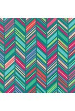 Moda ON SALE-Painted Garden, Chevron Stripe in Turquoise, Fabric Half-Yards 11813 17