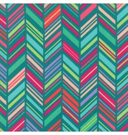 Moda ON SALE-Painted Garden, Chevron Stripe in Turquoise, Fabric Half-Yards 11813 17