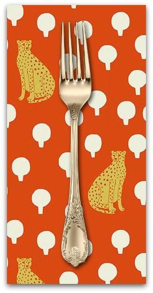 PD's Sarah Golden Collection Around Town, Cheetahs in Persimmon, Dinner Napkin