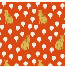 Sarah Golden Around Town, Cheetahs in Persimmon, Fabric Half-Yards A-8762-O