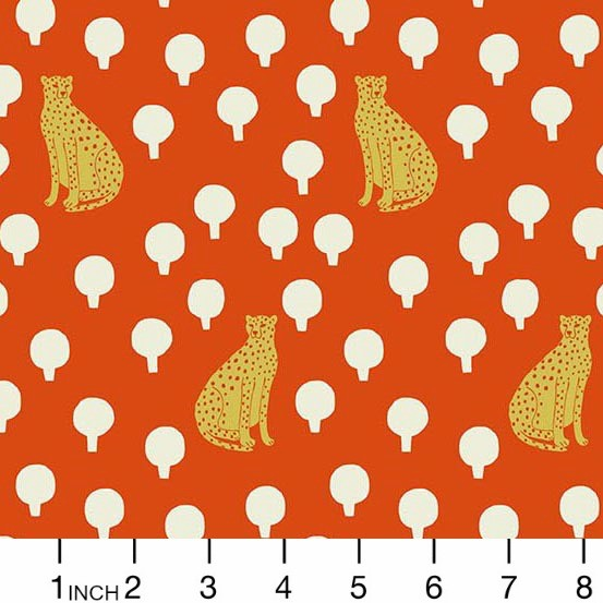 Sarah Golden ON SALE-Around Town, Cheetah Cats in Persimmon, Fabric Half-Yards A-8762-O