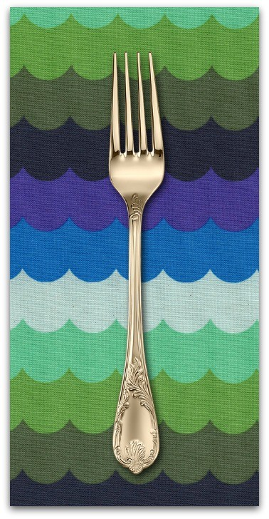 PD's Cotton + Steel Collection Panorama, Scallops in Landscape Unbleached Cotton, Dinner Napkin
