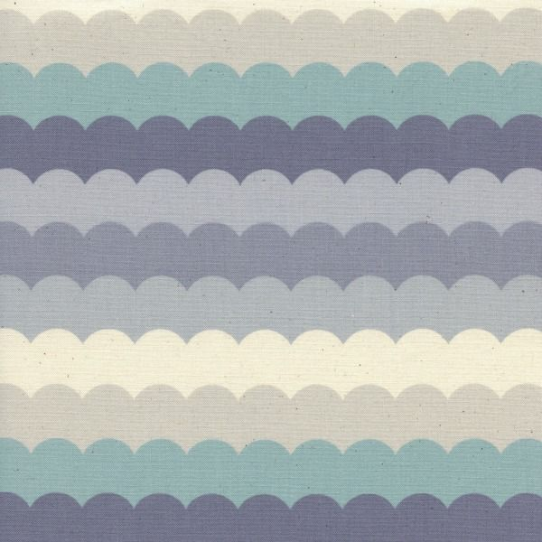 Cotton + Steel Panorama, Scallops in Arctic Unbleached Cotton, Fabric Half-Yards  C5172-001