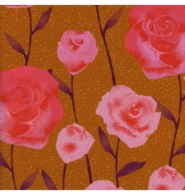 Cotton + Steel ON SALE-Firelight, Roses in Caramel, Fabric Half-Yards  C5179-001