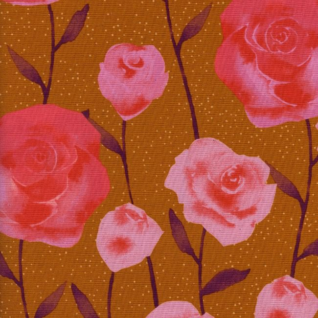 Cotton + Steel Firelight, Roses in Caramel, Fabric Half-Yards  C5179-001